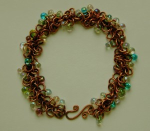 Copper Shaggy Loops bracelet, with handmade clasp