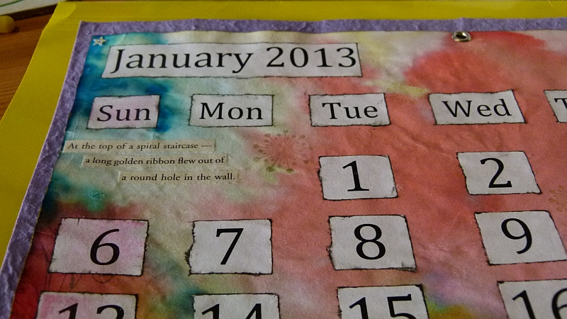 Calendar January 2013 close-up