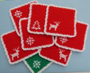 Woven Christmas coasters